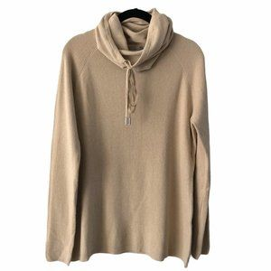 Cyrus Tan Neutral Cowl Neck Sweater Large
